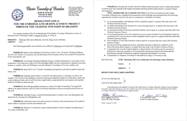 Enbridge disregards Michigan Constitution and Highway Act - Brandon Townships